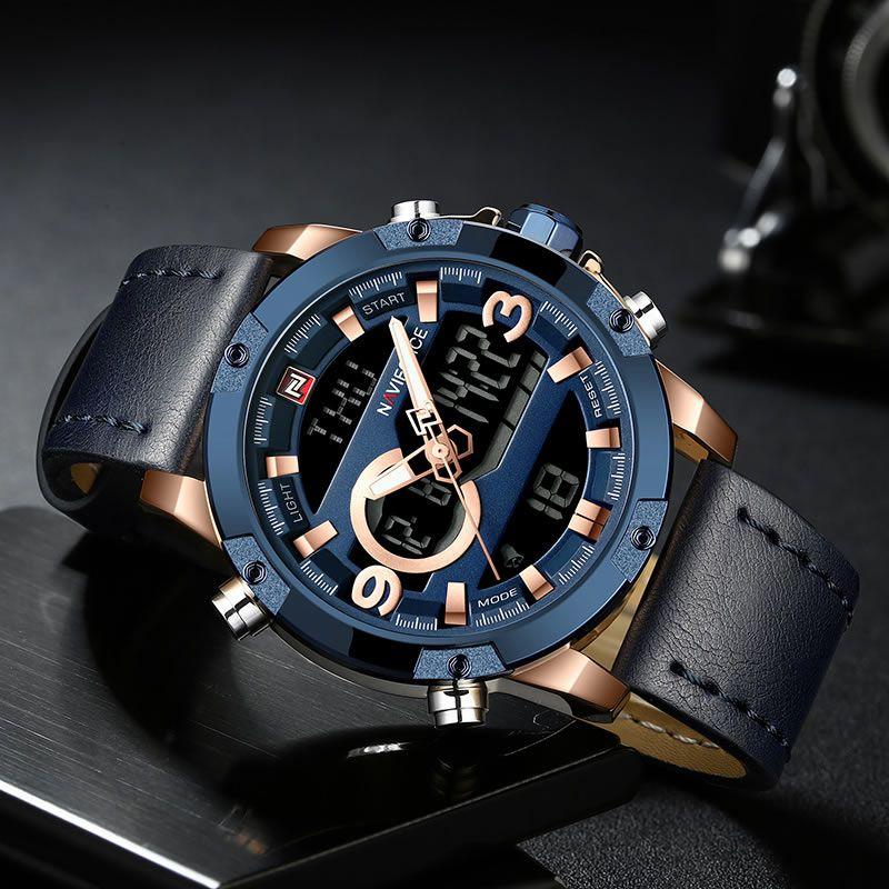 Relógio Masculino Naviforce NF9097 RGBE Pulseira em Couro – Azul e Dourado