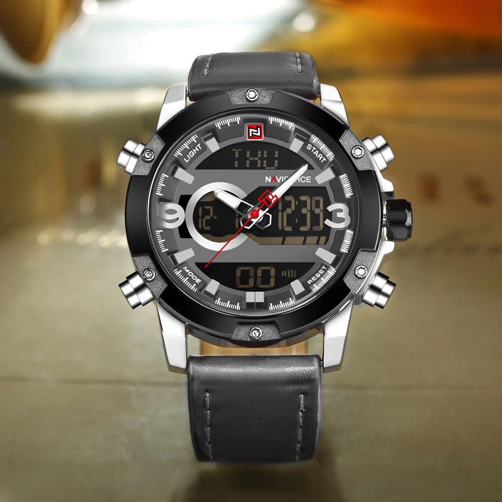 Relógio Masculino Naviforce NF9097 SGY Pulseira em Couro – Preto