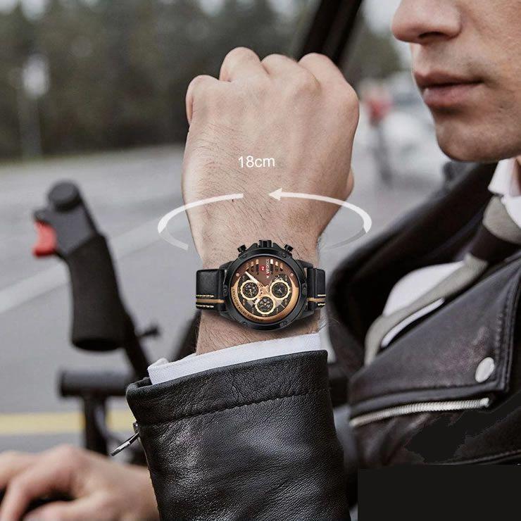 Relógio Masculino Naviforce NF9110 BRGBN Pulseira em Couro – Marrom e Dourado
