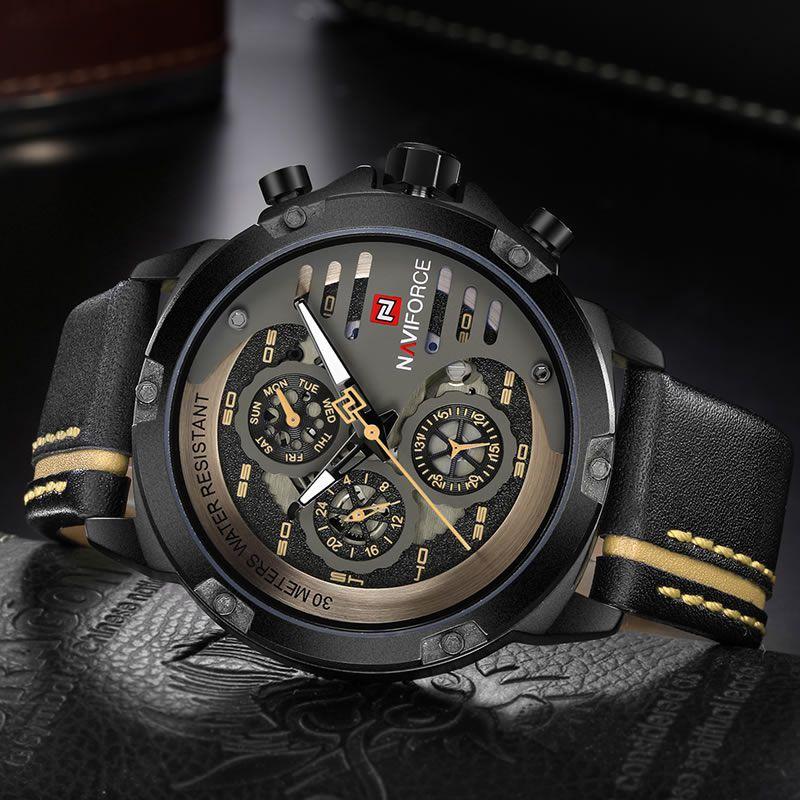 Relógio Masculino Naviforce NF9110 BYBN Pulseira em Couro Â- Preto e Dourado
