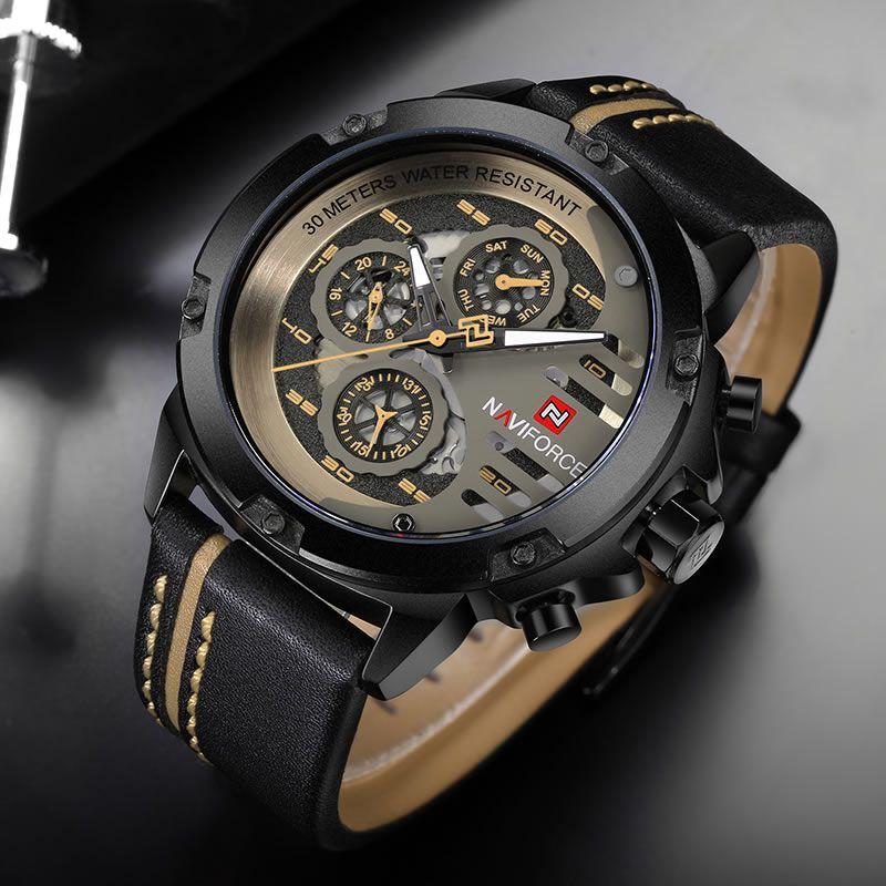 Relógio Masculino Naviforce NF9110 BYBN Pulseira em Couro – Preto e Dourado