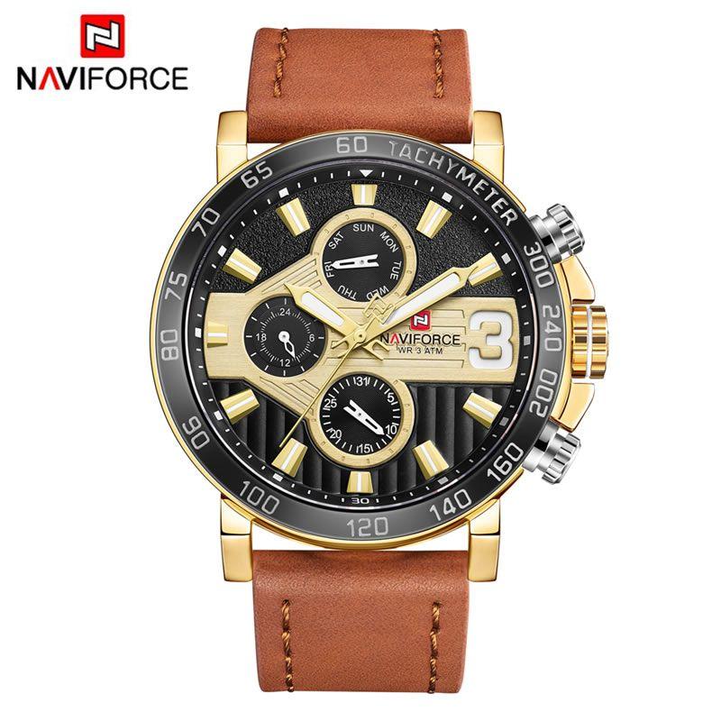 Relógio Masculino Naviforce NF9132 GGLBN Pulseira em couro – Marrom e Dourado