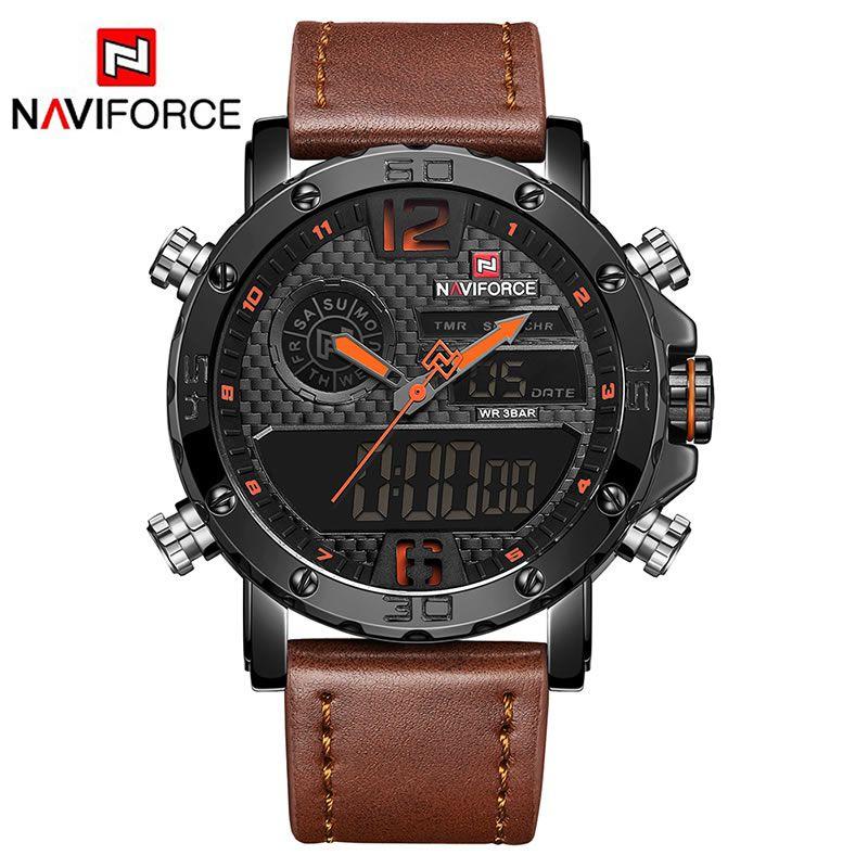Relógio Masculino Naviforce NF9134 BOLBN Pulseira em Couro – Marrom e Laranja