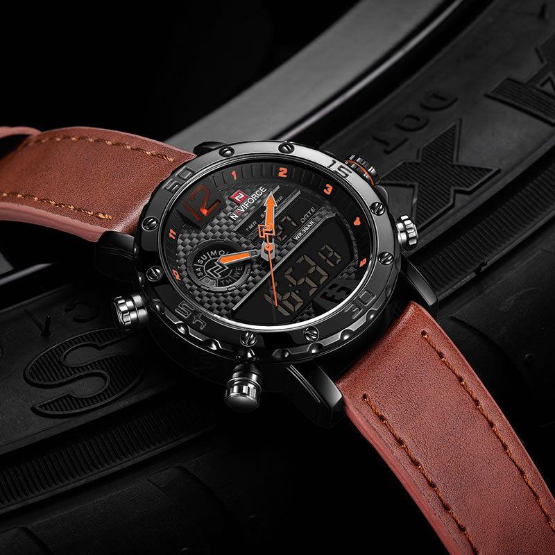 Relógio Masculino Naviforce NF9134 BOLBN Pulseira em Couro Â- Marrom e Laranja