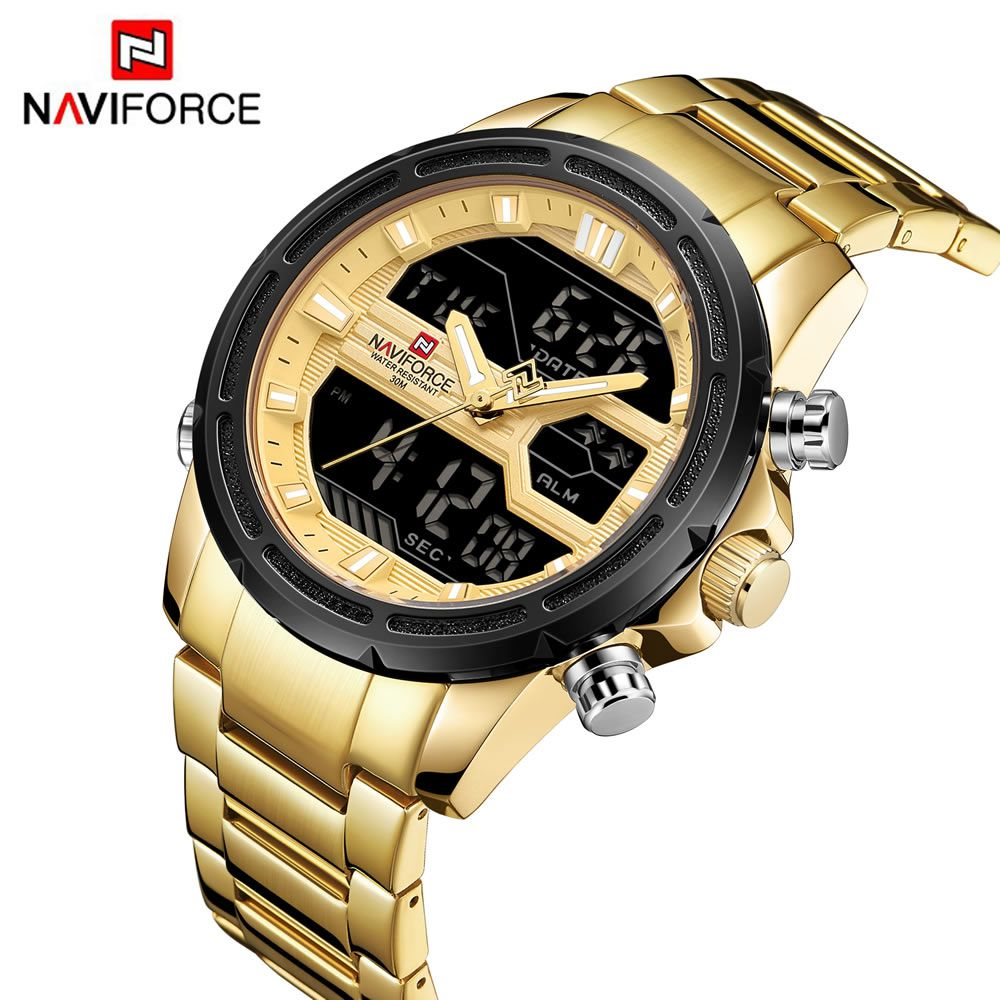 Relógio Masculino Naviforce NF9138S GG Pulseira em Aço Â- Dourado