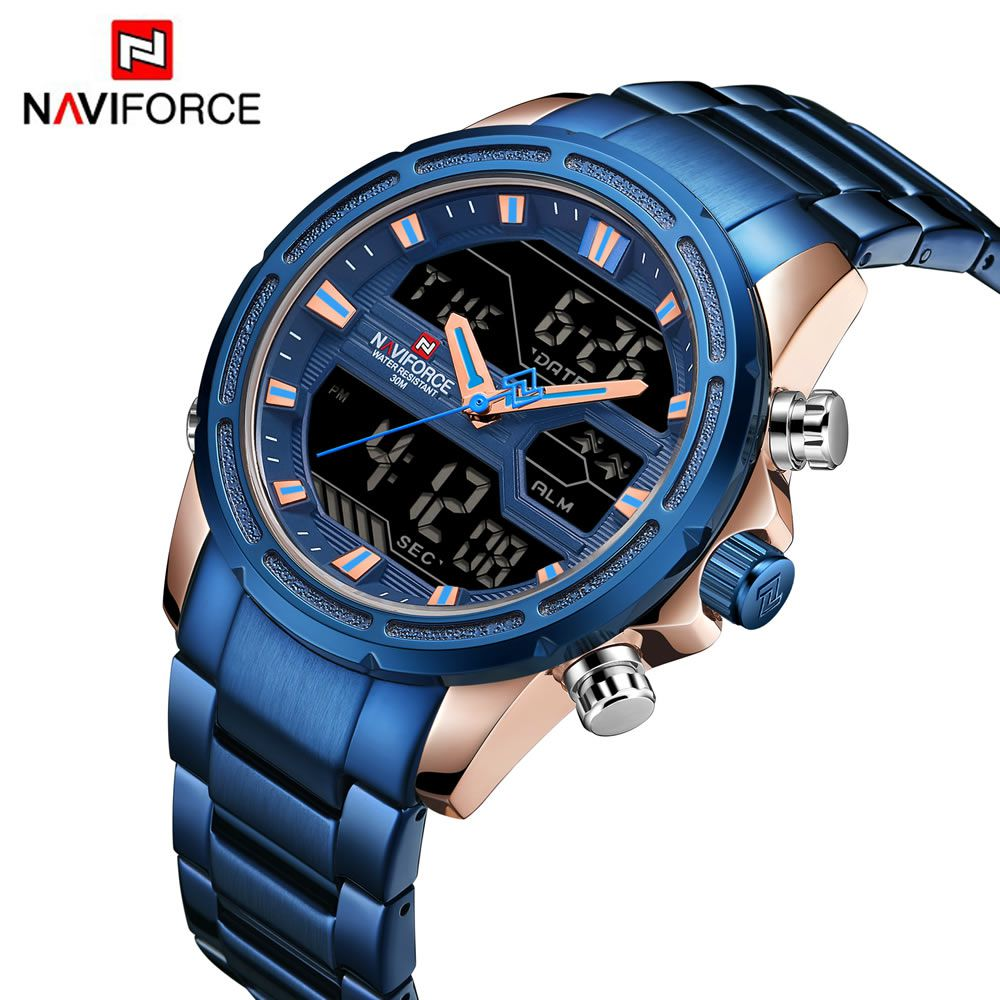 Relógio Masculino Naviforce NF9138S RGBE Pulseira em Aço Â- Azul e Dourado