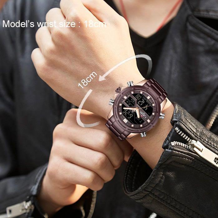 Relógio Masculino Naviforce NF9138S RGCE Pulseira em Aço Â- Marsala e Dourado Rose