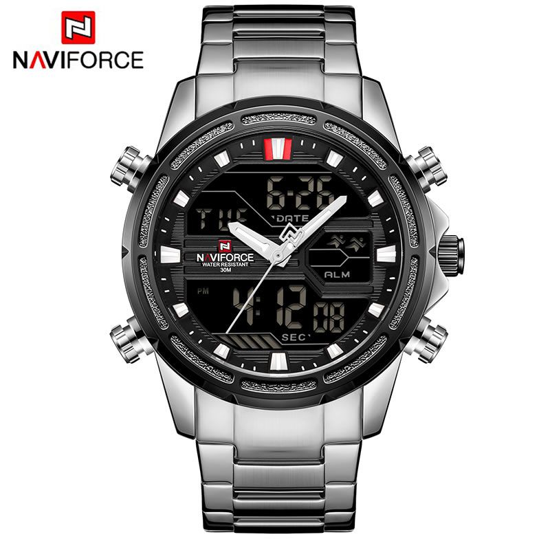 Relógio Masculino Naviforce NF9138S SBW Pulseira em Aço - Preto e Prata