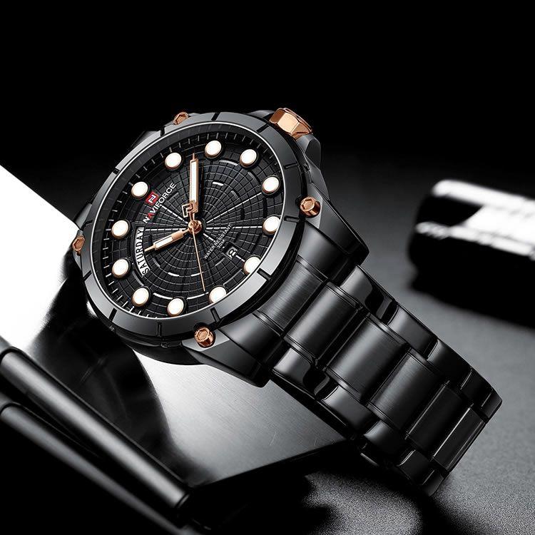 Relógio Masculino Naviforce NF9152 BB Pulseira em Aço – Preto