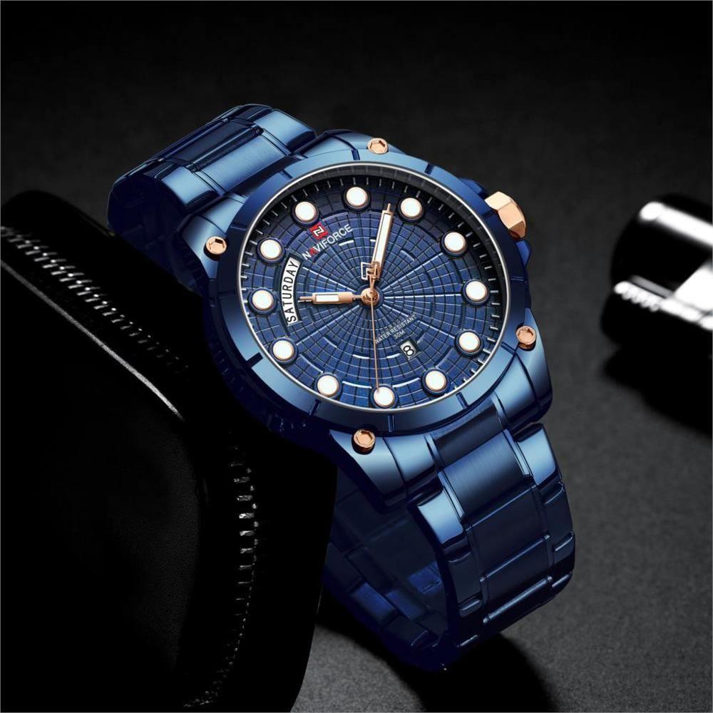 Relógio Masculino Naviforce NF9152 BEBE Pulseira em Aço – Azul