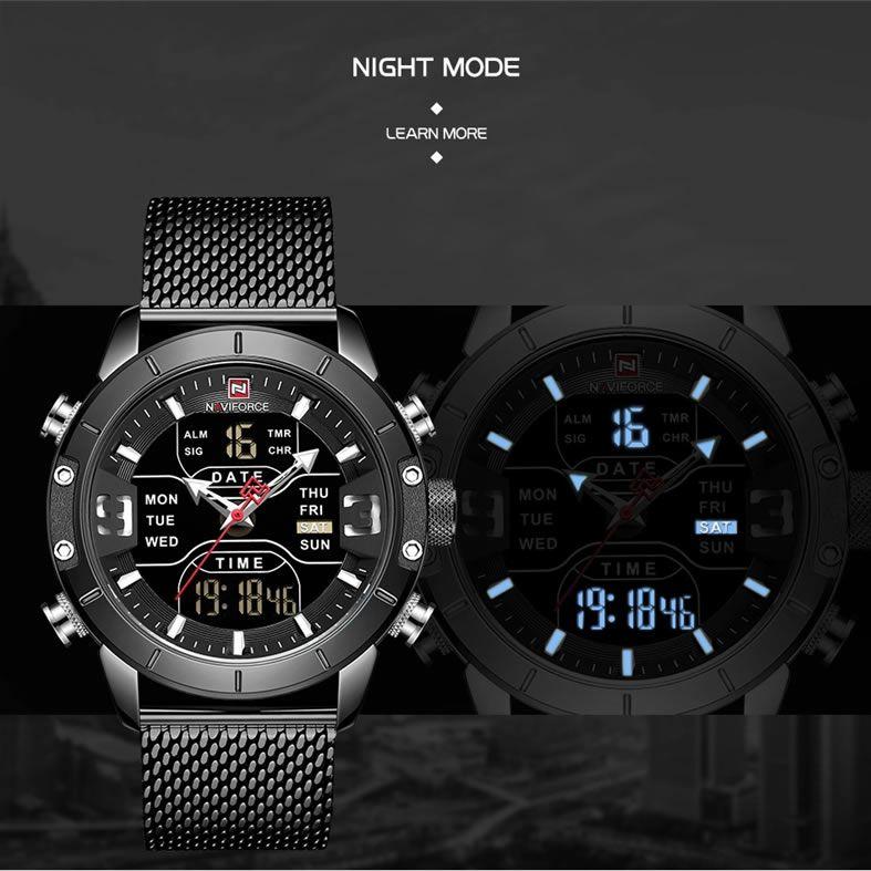 Relógio Masculino Naviforce NF9153 BB Pulseira em Aço Inoxidável – Preto