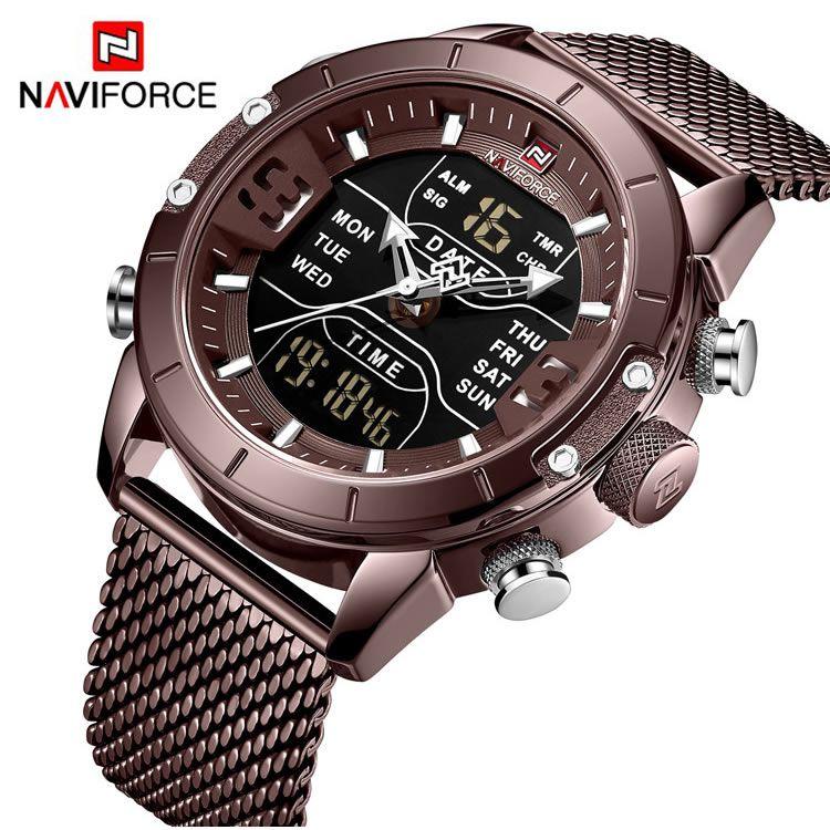 Relógio Masculino Naviforce NF9153 CECE Pulseira em Aço – Marsala e Dourado Rose