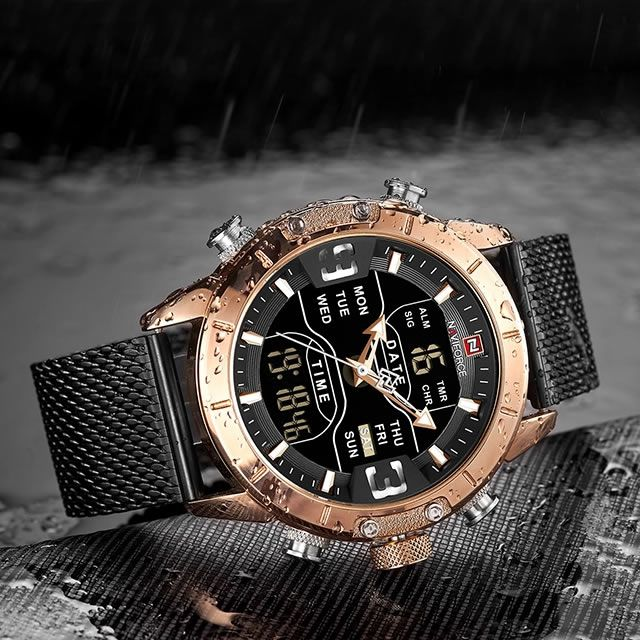Relógio Masculino Naviforce NF9153 RGB Pulseira em Aço Inoxidável – Preto e Dourado Rose
