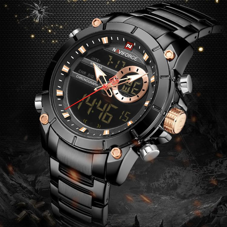 Relógio Masculino Naviforce NF9163 BB Pulseira em Aço Inoxidável – Preto