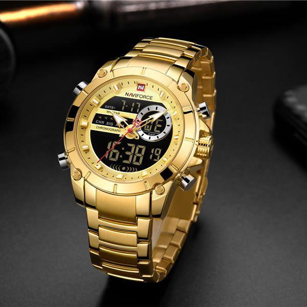 Relógio Masculino Naviforce NF9163 GG Pulseira em Aço Inoxidável –Dourado