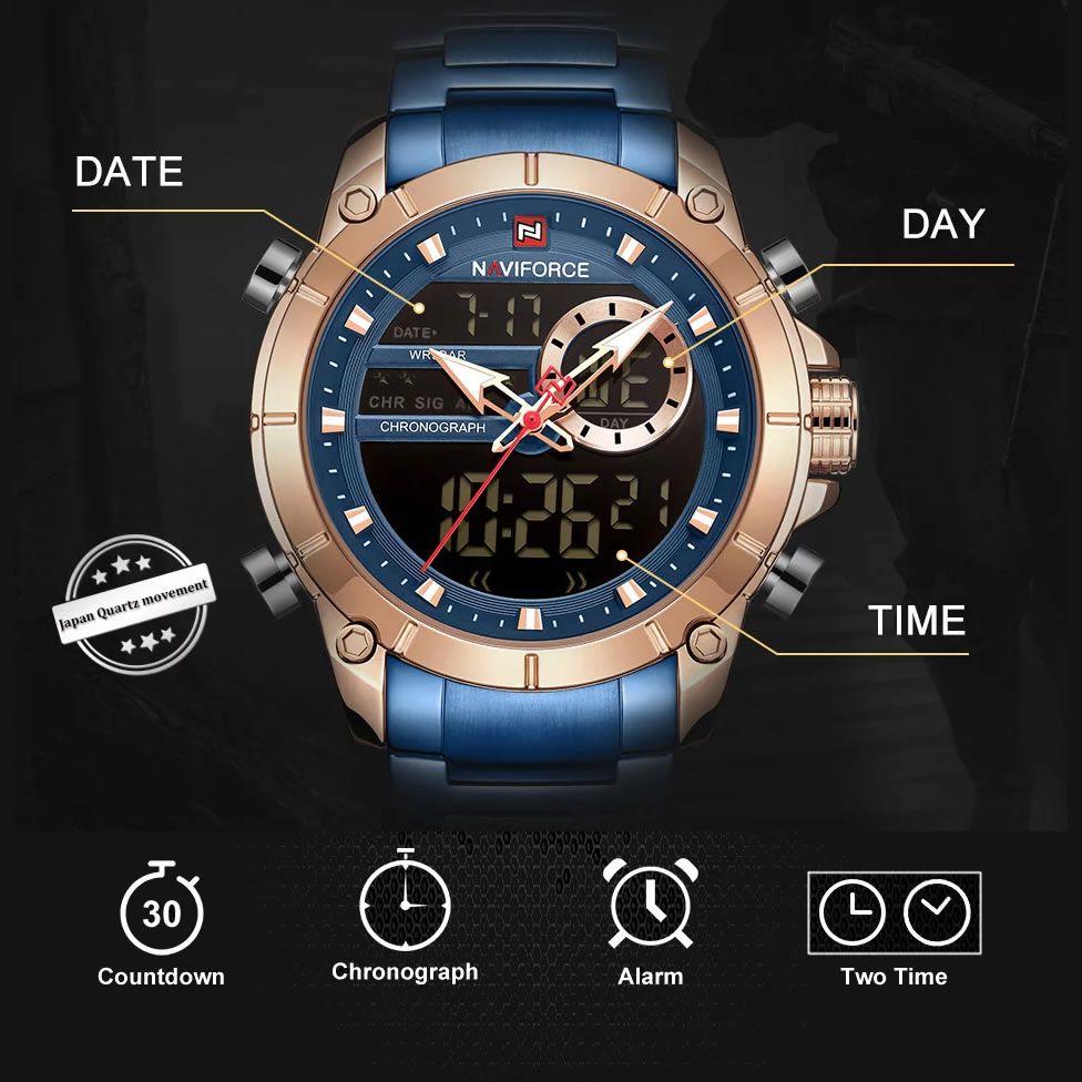 Relógio Masculino Naviforce NF9163 RGBE Pulseira em Aço Inoxidável – Azul e Dourado Rose