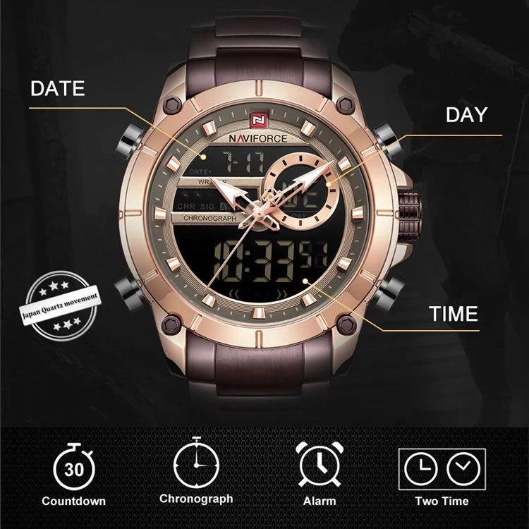 Relógio Masculino Naviforce NF9163 RGCE Pulseira em Aço Inoxidável – Marsala e Dourado Rose