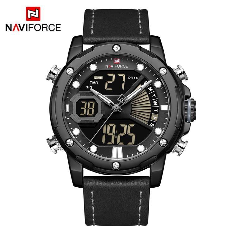 Relógio Masculino Naviforce NF9172 BGYB Pulseira em Couro – Preto e Cinza