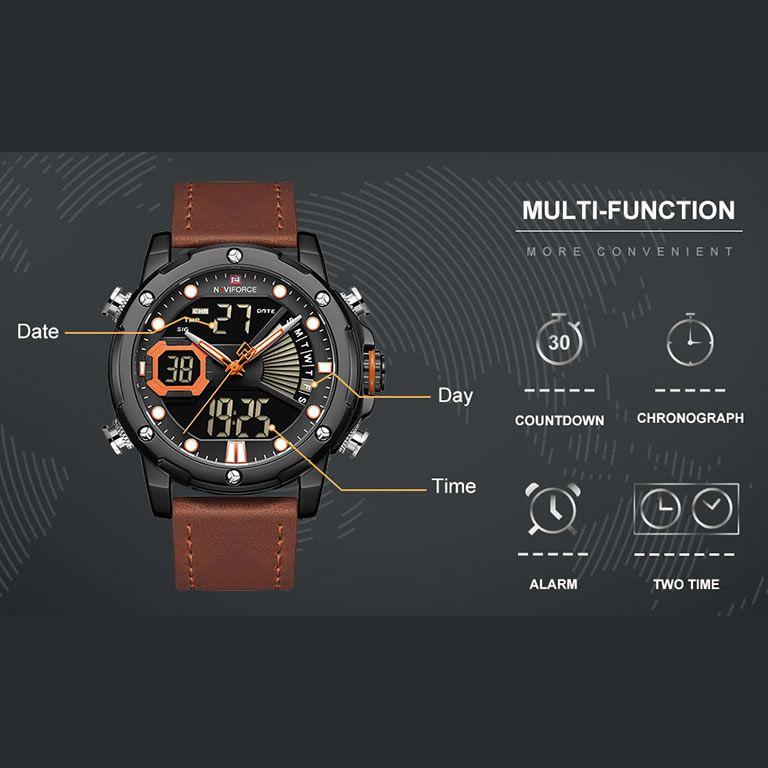 Relógio Masculino Naviforce NF9172 BOLBN Pulseira em Couro Â- Marrom
