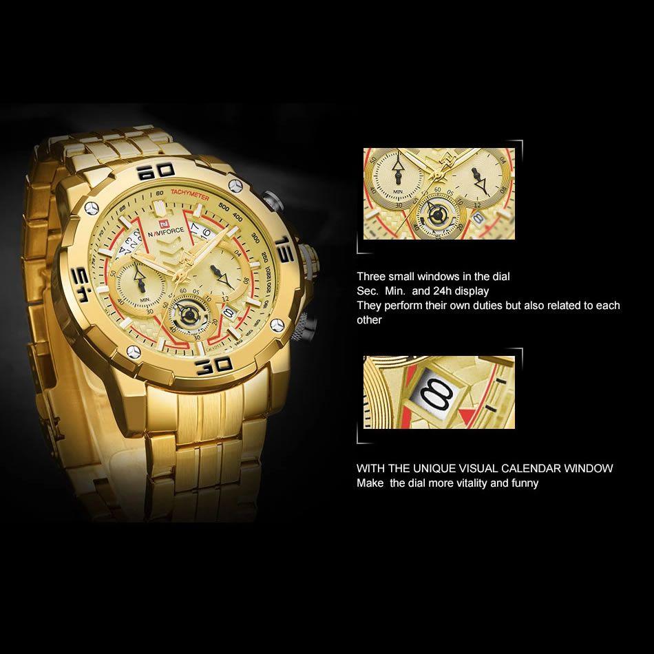 Relógio Masculino Naviforce NF9175 GG Pulseira em Aço Inoxidável – Preto e Dourado Rose