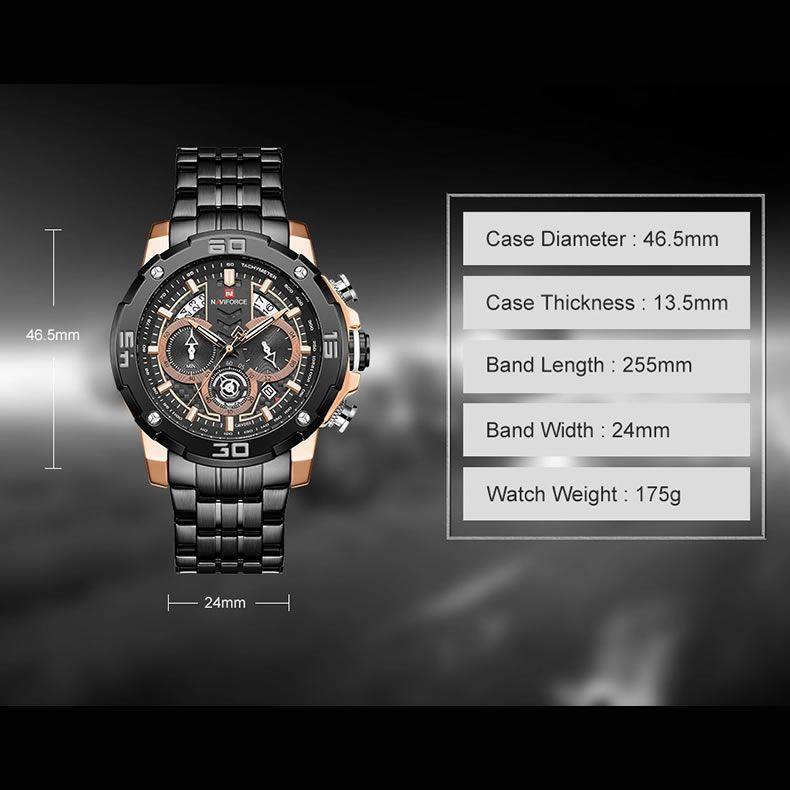 Relógio Masculino Naviforce NF9175 RGB Pulseira em Aço Inoxidável – Preto e Dourado Rose