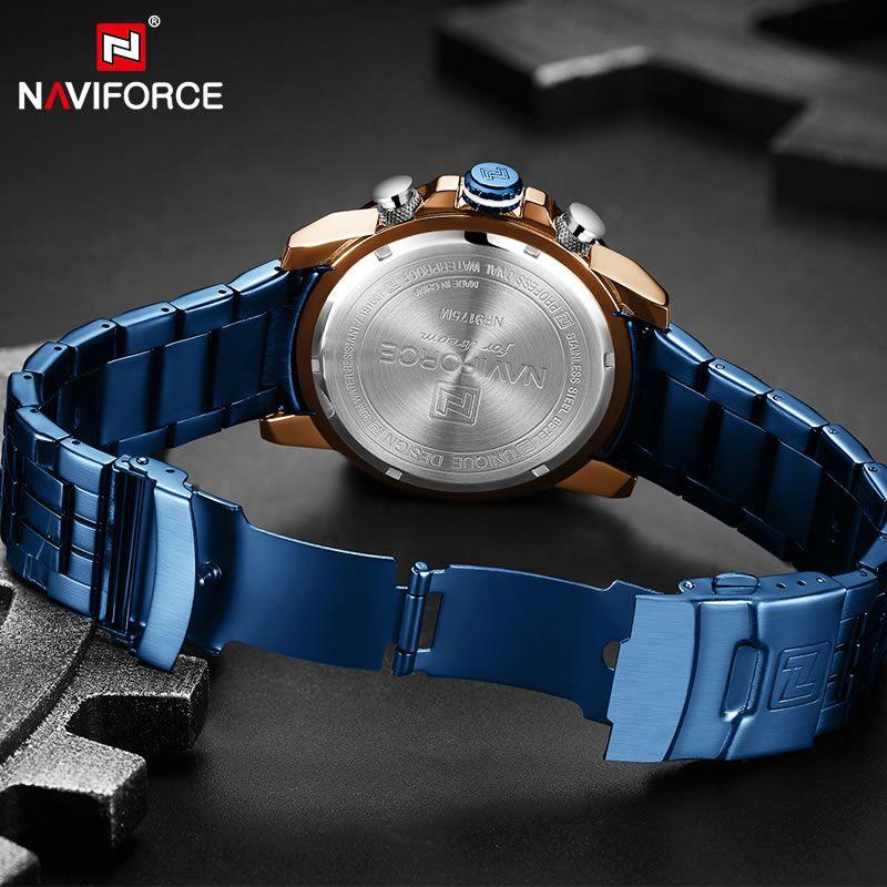 Relógio Masculino Naviforce NF9175 RGBE Pulseira em Aço Inoxidável – Azul e Dourado Rose