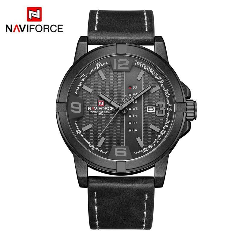 Relógio Masculino Naviforce NF 9177 BGYB Pulseira em couro – Preto