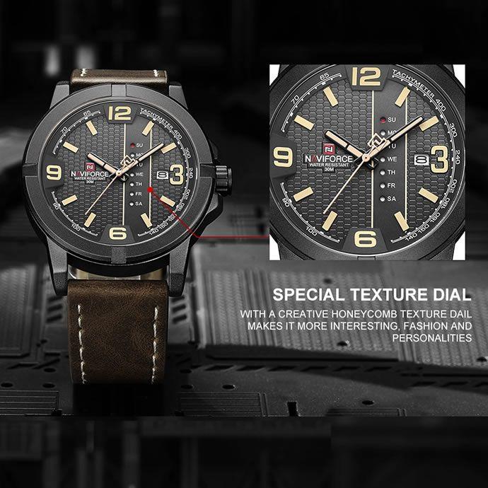 Relógio Masculino Naviforce NF 9177 BYDBN Pulseira em couro Â- Preto