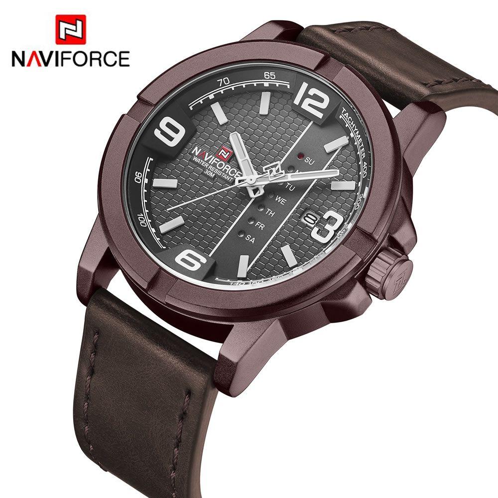 Relógio Masculino Naviforce NF 9177 CEWCE Pulseira em couro Â- Marsala