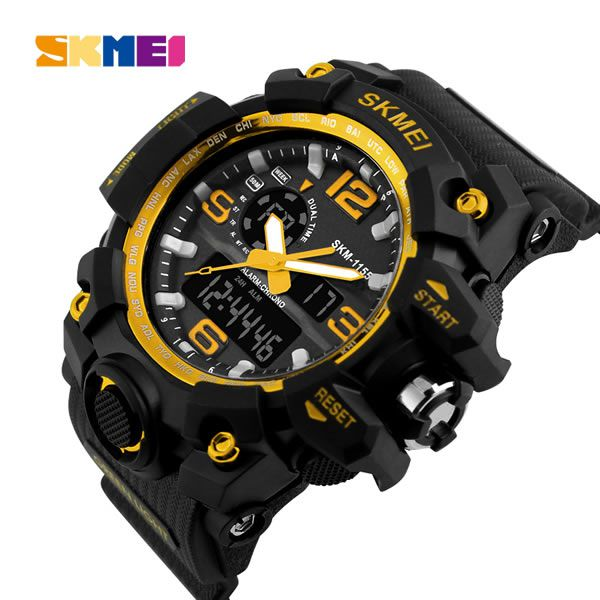 Relógio Masculino Skmei Modelo SK1155 - Preto Dourado