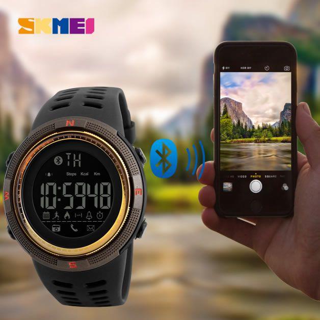Relógio Masculino Skmei 1250 Bluetooth - Marron Dourado
