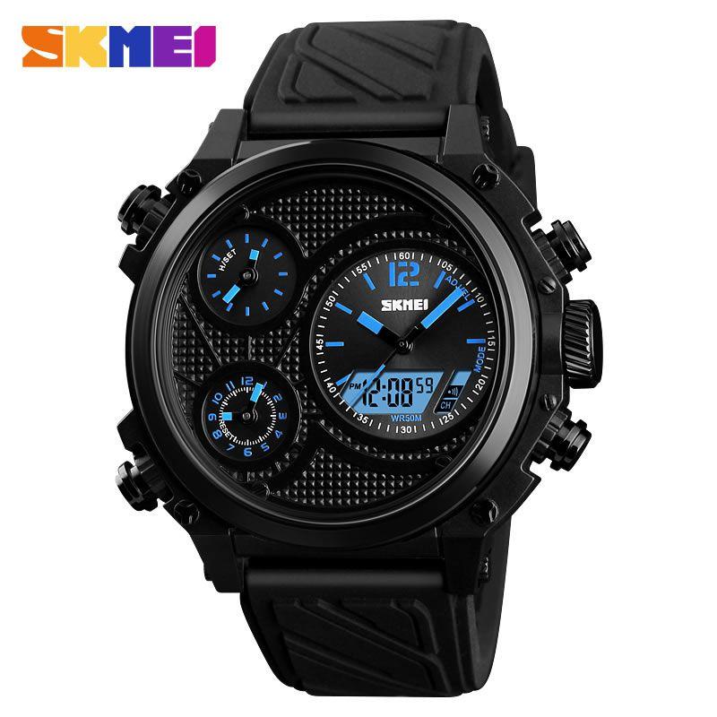 Relógio Masculino Skmei 1359 BU Pulseira em Silicone – Preto e Azul