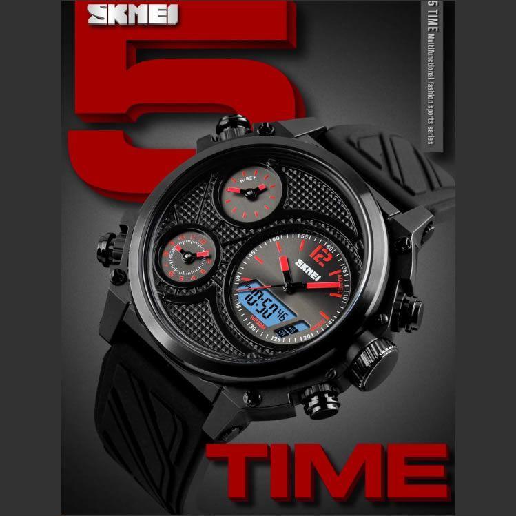 Relógio Masculino Skmei 1359 RD Pulseira em Silicone – Preto e Vermelho