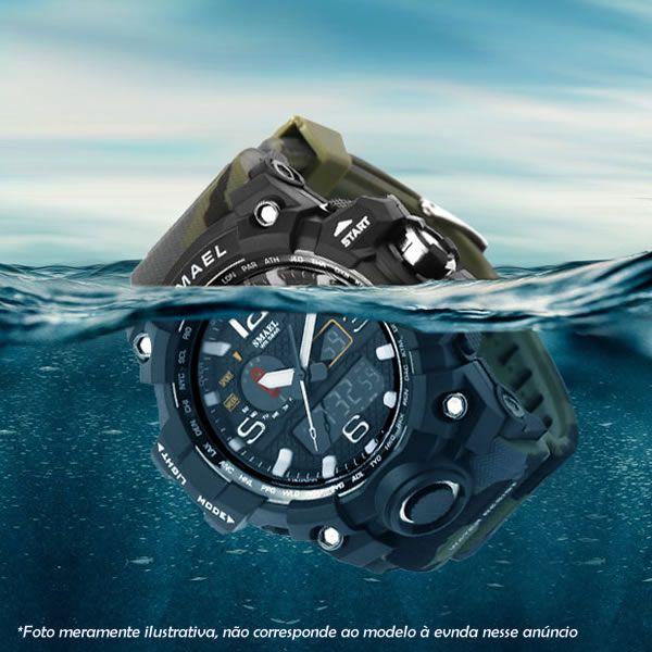 Relógio Masculino SMAEL 1545 à Prova D'água 50m Fundo Dourado - Original Importado