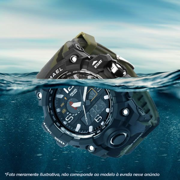 Relógio Masculino Smael Modelo SM1545  - Preto Laranja