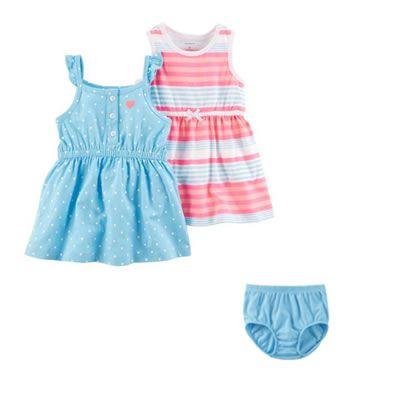Roupas de Bebê da Carters - 2 Vestidos 1 Calcinha