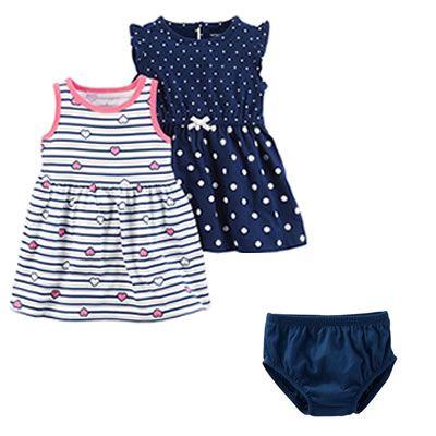 Roupas de Bebê Carters - 2 Vestidos 1 caLcinha