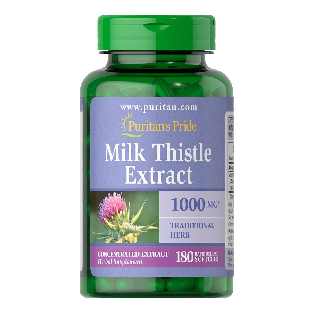 Silimarina 1000mg Milk Thistle Puritans Pride 180 Softgels