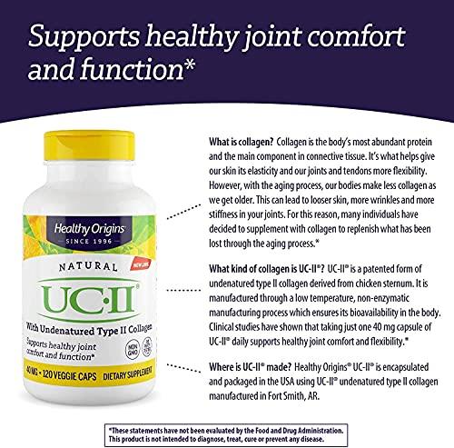 UC-II Colágeno Tipo II Não Desnaturado 40mg Healthy Origins - 120 Cápsulas Veganas