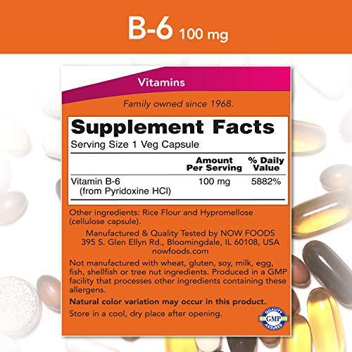 Vitamina B-6 (Pyridoxine HCl) 100mg Now Foods - 250 Capsulas