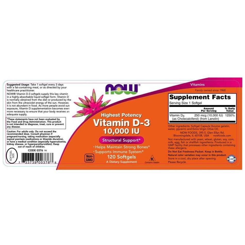 Vitamina D3 10.000 IU 250 mcg Now Food – 120 Softgels