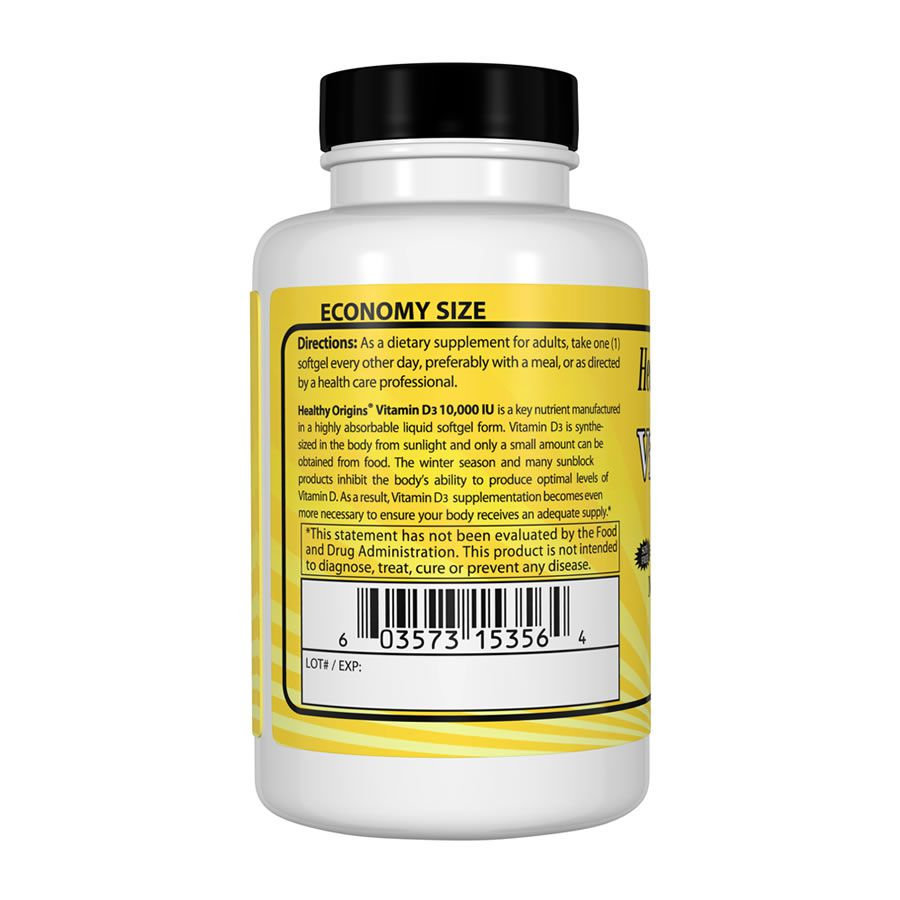 Vitamina D3 10.000 Iu Healthy Origins - 360 Softgels