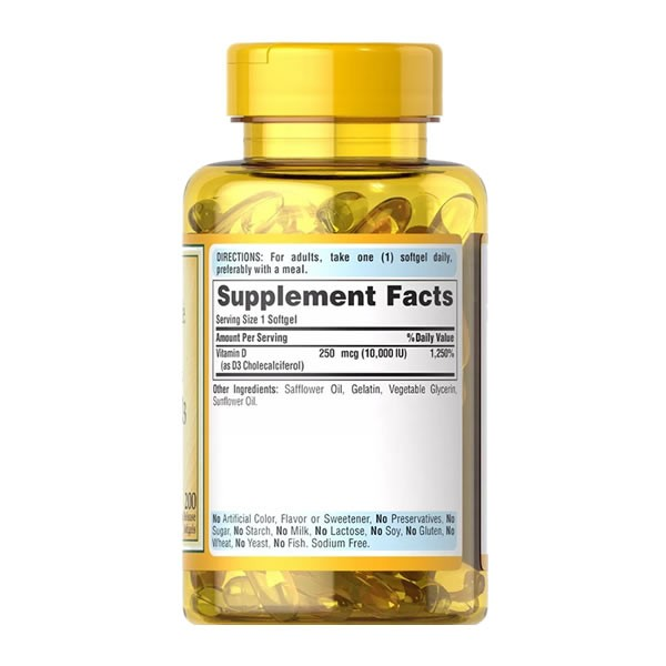 Vitamina D3 10.000 IU Puritans Pride 250mcg - 200 Cápsulas