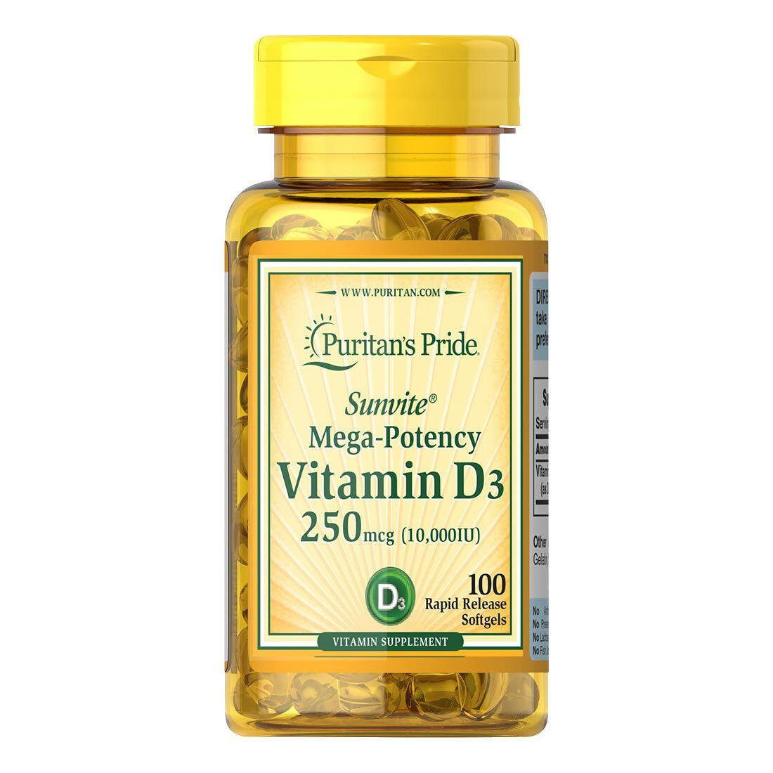 Vitamina D3 10.000 IU Puritans Pride 250mcg 100 Cápsulas