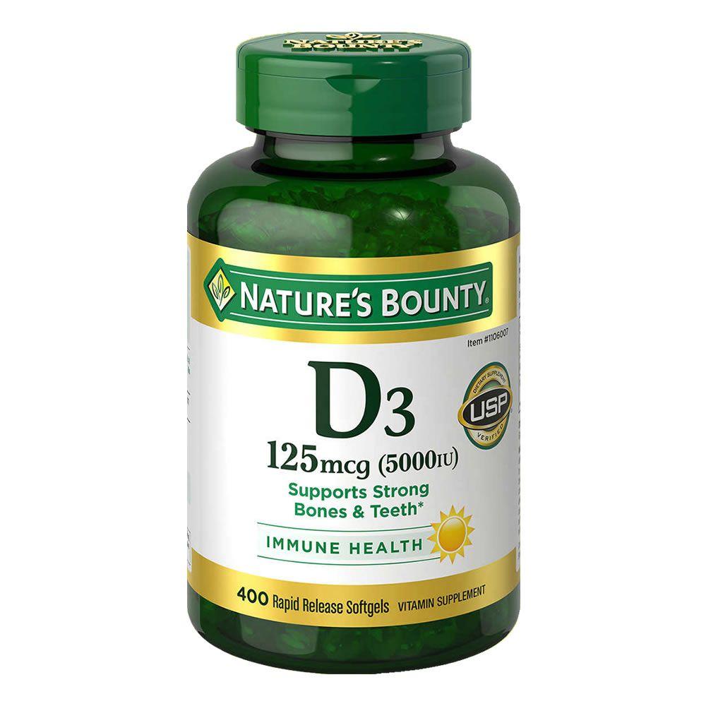 Vitamina D3 125mcg 5000iu Natures Bounty - 400 Softgels