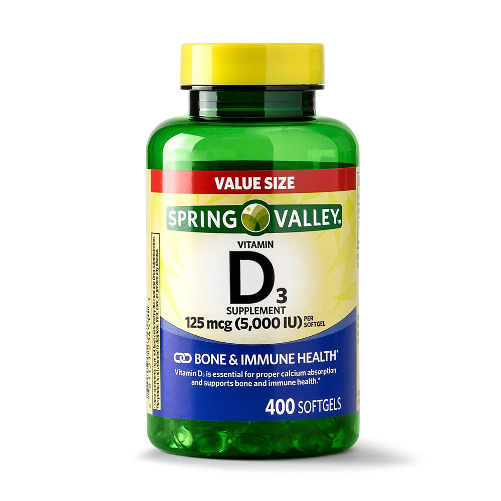 Vitamina D3 5000 IU 125 mcg Spring Valley – 400 Softgels