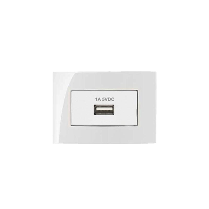 CONJUNTO TOMADA CARREGADOR USB 1A-BIV P  MOVEL BR SLEEK MARGIRIUS