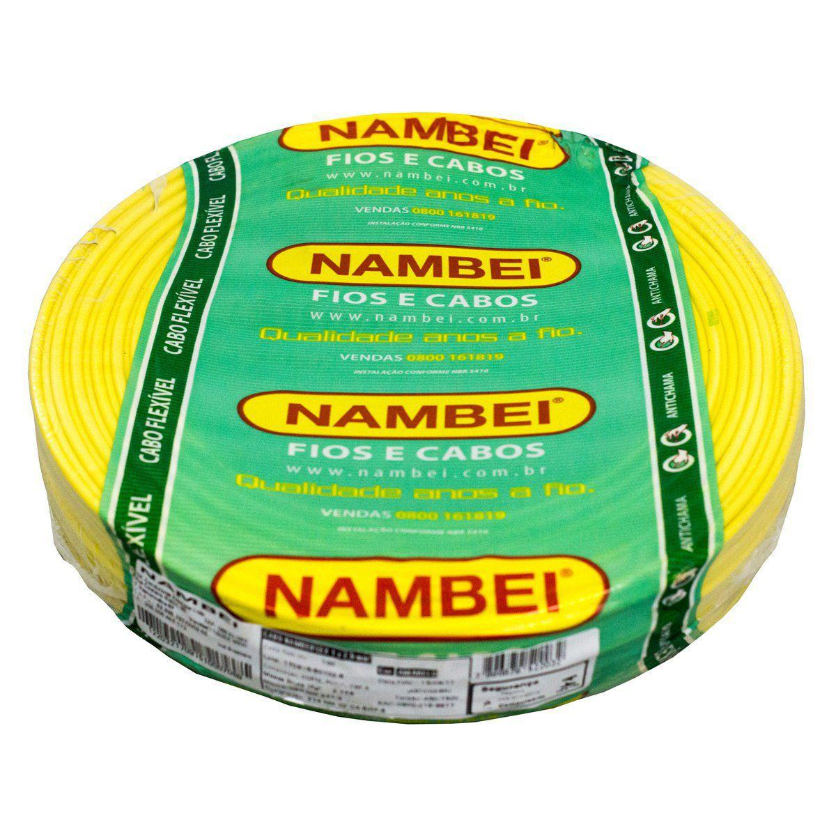 Fio Flexível 4mm Amarelo Nambei Rolo c/ 100m