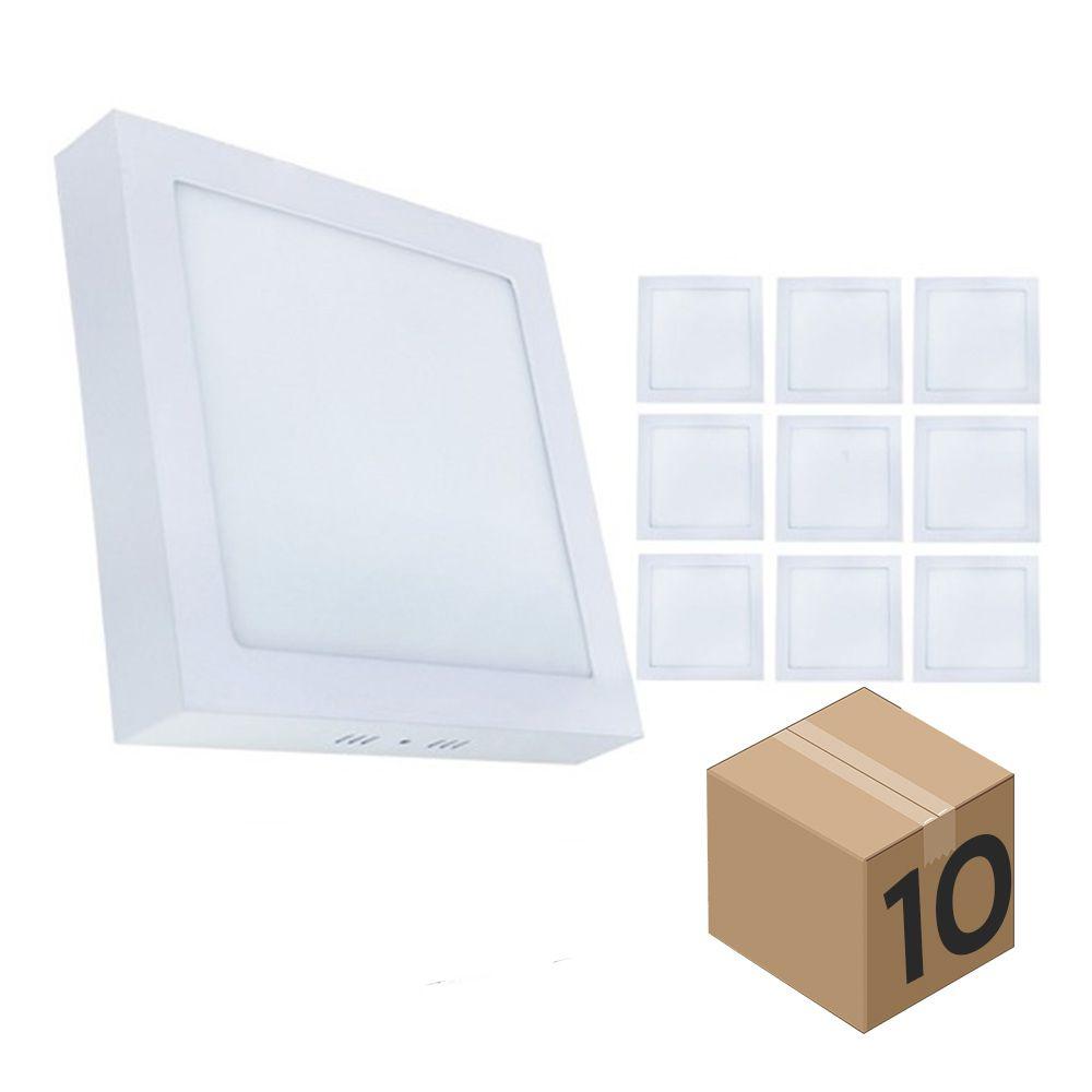 Kit 10 Luminaria Plafon Led Quadrada de Sobrepor Branco Quente 12W