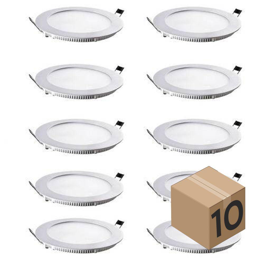Kit 10 Luminaria Plafon Led Redondo de Embutir Branco Frio 12W